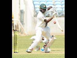 Jamaica Scorpions batsman Jermaine Blackwood plays a shot on the off the side during the Scorpion's second innings of the WICB four-day cricket match against the Windward Islands Volcanoes at Sabina Park on January 18, 2020.