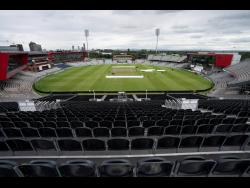 In this Tuesday, September 3, 2019 file photo, a view of the stadium during a nets session before the 4th Ashes Test cricket match between England and Australia at Old Trafford cricket ground in Manchester, England.