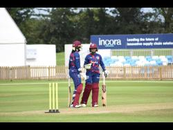 West Indies captain Stafanie Taylor and Shemaine Campbelle bats during a match simulation session in Derby.