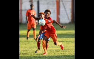Tivoli's Jamie Robinson moves away from Dubeholden's Demario Phillips during their Red Stripe Premier League encounter on October 20, 2019.