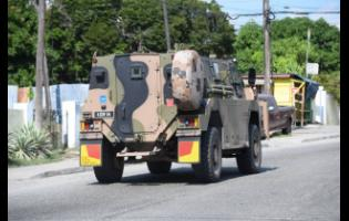 A JDF vehicle on the streets of Kingston.