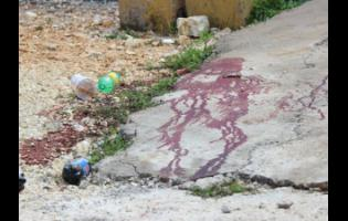 Blood stains on the grounds of the church.