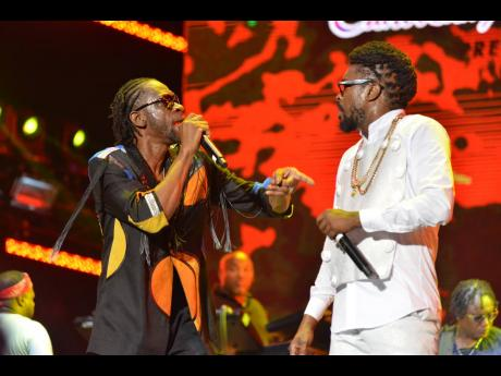 Bounty Killer (left) and Beenie Man performing at Sumfest last year.
