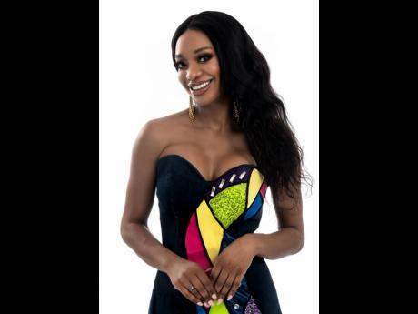 Lawnda Jackson in a dress designed by Zahira Moo.